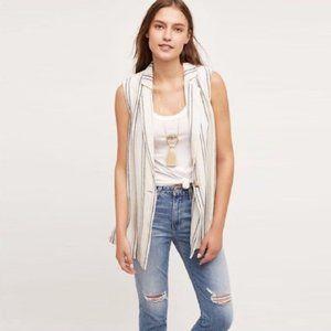 Elevenses Striped Linen Vest - size Small